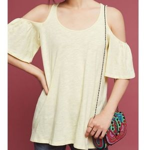 ANTHRO PURE + GOOD Yellow Cold Shoulder Top Sz XS